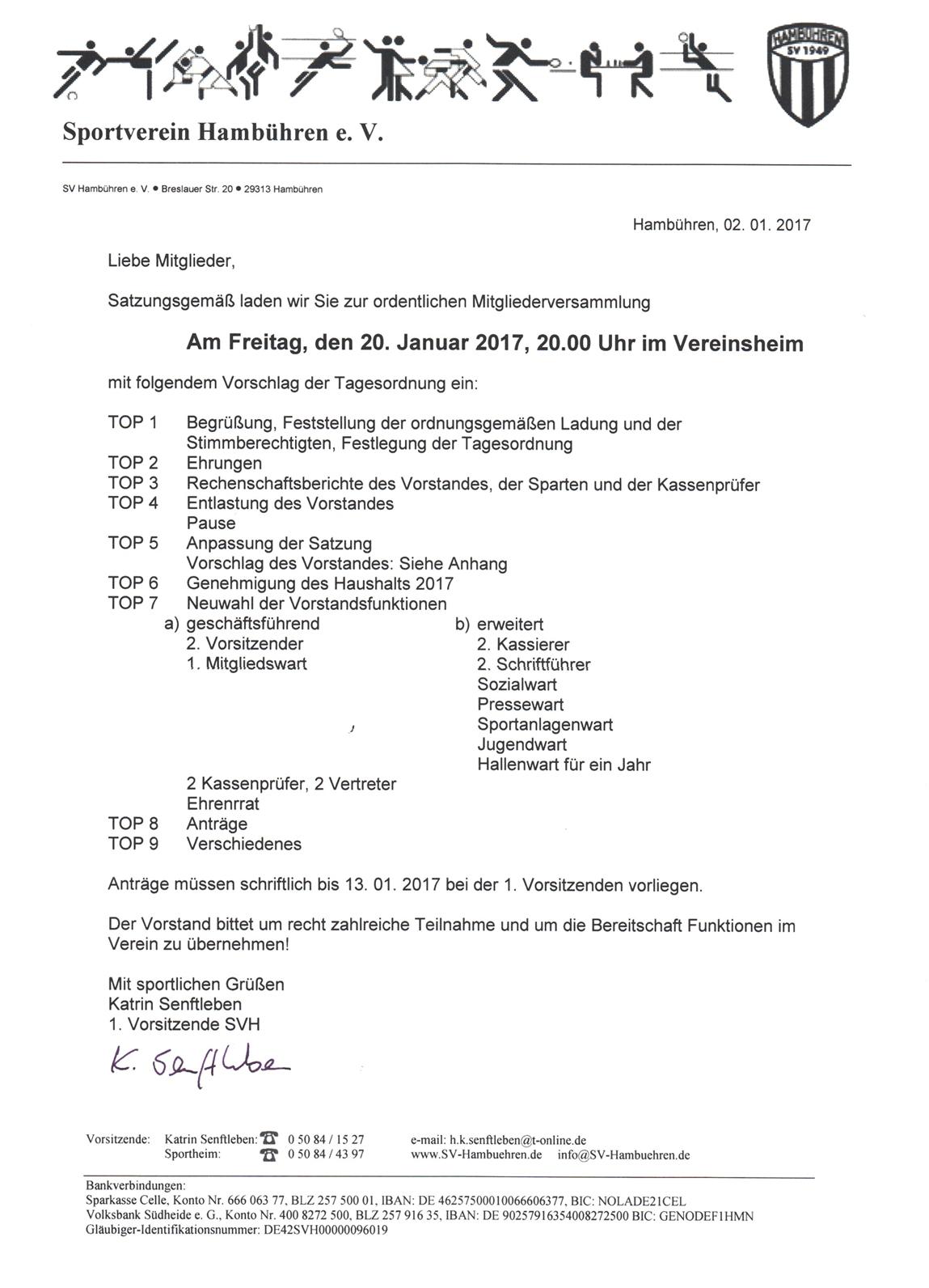 startseite - sportverein hambühren, Einladung